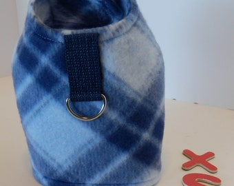 X Small Harness ,Blue Plaid, Hook and Loop Fasteners, D Ring for leash.