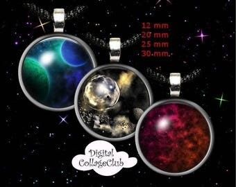 80 % off Summer Sale Space Digital Collage Sheet 12 mm, 20mm, 30 mm, 1 inch (25 mm) Round Images for Bottlecap, Jewelry Making, Scrapbooking