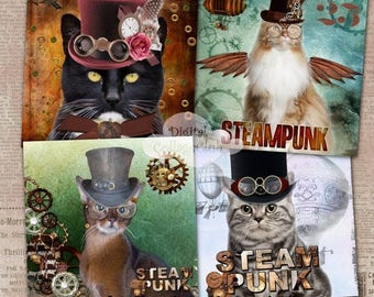 80 % off Graphics SaLe Steampunk Cat Digital Coaster 4 x 4 inches Large Images for Card Making, Journaling, Decoupage, ATC, Digital Collage