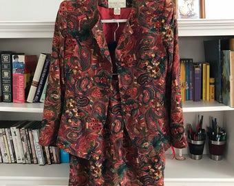 Vntg Michelle Stuart Petite Patterned Skirt and Blazer Suit size 4