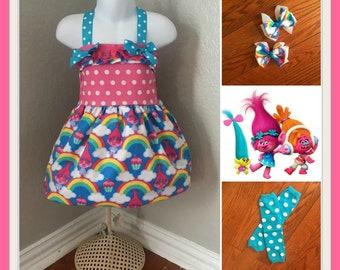 Poppy Dress, Poppy Birthday, Troll Birthday, Troll Dress, Poppy Dress, Troll outfit