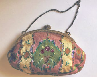 Vintage 1930s Art Deco Petit Point Needlepoint Tapestry of Roses Handbag with Gold Frame and Handle