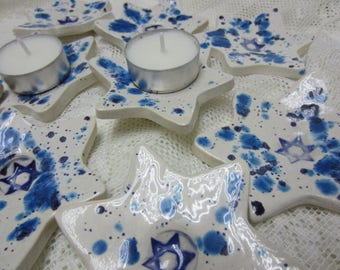 Set of 8 Ceramic Tealights Blue and White Stars of David Hand Made in Israel Shabbat Candles