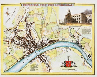 Newcastle upon Tyne Gateshead town map historical county map 1837 reproduction North of England UK map vintage office pub decor Thomas Moule