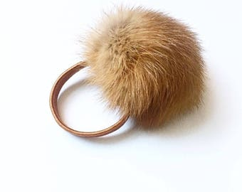 Ginger mink pom pom for hair