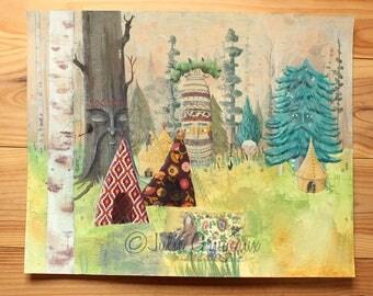 Sequoia - original mixed media on paper illustration. 40x50cm