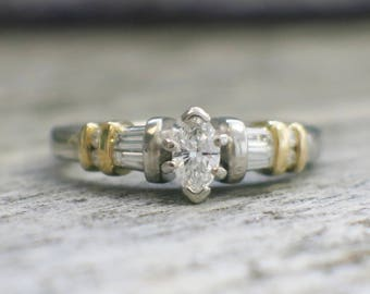Platinum and 18K Yellow Gold Two Tone Marquise Diamond Engagement Ring