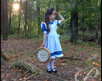 ALICE In WONDERLAND COSTUME Alice Costume Birthday Party Dress Blue Dress White Pinafore Alice Party Outfit