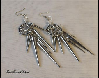 PENTAGRAM EARRiNGS Gothic Earrings  SILVER SPIKES Earring Wiccan Occult