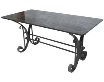 Italian Wrought Iron and Black Marble Dining Table