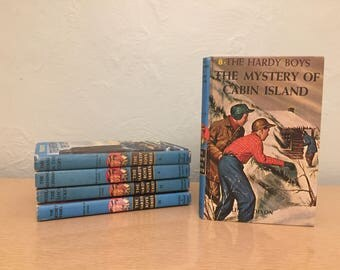 Five 1960-80s Hardy Boys Books #2, 4, 8, 11, 25 - Franklin W. Dixon - House Cliff, Missing Chums, Cabin Island, Clock Ticked, Secret Panel