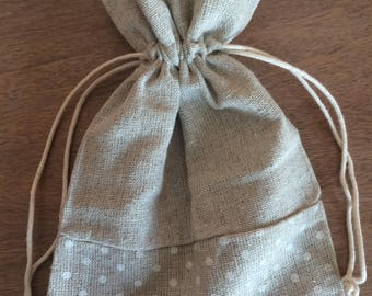Bag of linen and polka dots 12 cm x 17cm