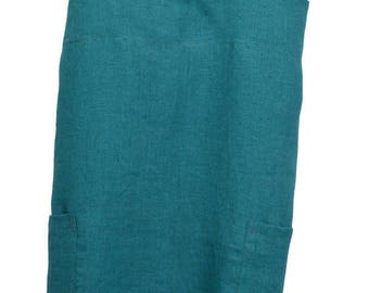 Japanese apron with pockets in 100% washed linen Turquoise