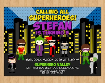 Batman Superhero Birthday Invitation