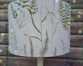 Green Ferns and Grasses Fabric Covered Lampshade 19cm -45cm