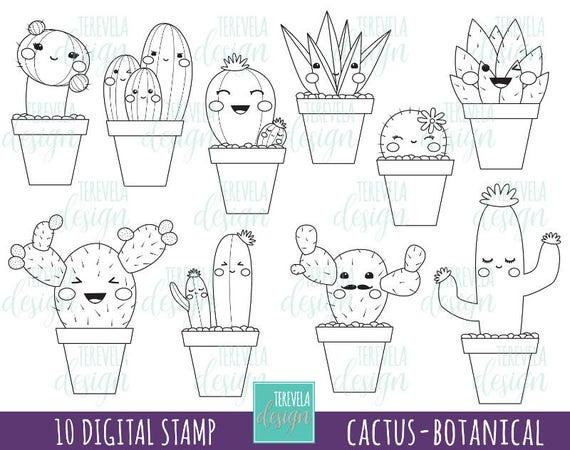 50 SALE CACTUS stamp digi stamp mercial use kawaii digi