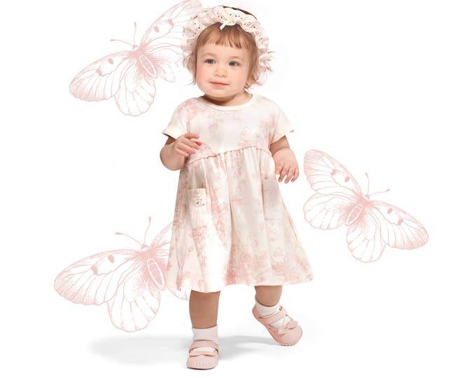 Baby Girl Summer Dress, Baby Girl Butterfly Dress, Baby Pink Floral Dress, Newborn Girl Pink Summer Dress Butterflies, Tesababe DR73PBGEIY