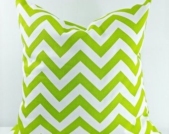 SALE Chartreuse Chevron. Lime Green Pillow Cover. Sham Pillow case.Cushion cover. Select your size.