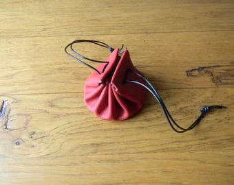 Handmade red leather purse