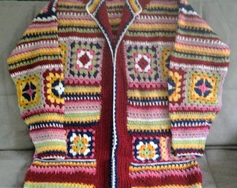 Long Crochet Multicolored Granny Square Jacket...Red, Blue, Green, Yellow and White...Large to Extra Large....One of a Kind