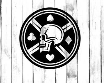 Skull with Card Symbols - Hearts, Diamonds, Clubs, Spades - Di Cut Decal - Car/Truck/Home/Laptop/Computer/Yeti/Tumbler/Macbook/Phone Decal
