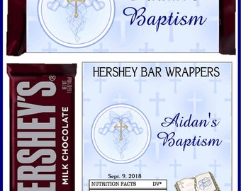 12 BAPTISM CHRISTENING Party Favors Candy Bar Hershey Bar Wrappers - We Print & Ship