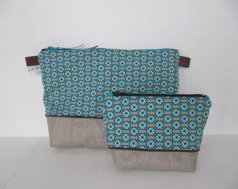 Duo printed toilet bag vintage beige Brown green/turquoise with or without handle