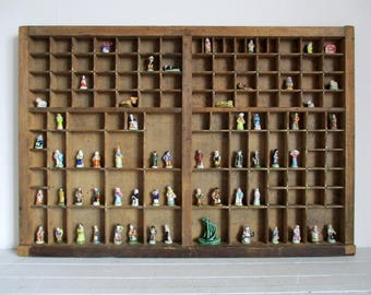 Printers Drawer, Wooden Printers Tray, Wooden Letterpress Tray, Miniature Display Shelf, Typeset Drawer, Shadowbox, Compositors Case