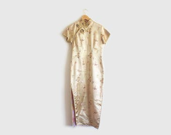 vintage silk cheongsam dress