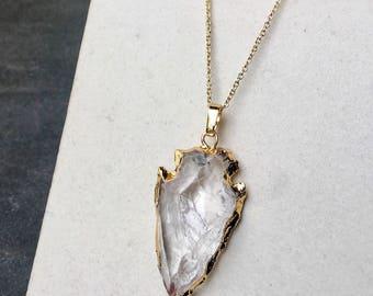 Crystal quartz arrow head necklace -  gemstone arrow necklace - gemstone necklace - gemstone druzy pendant - necklace boho chic gold -