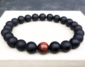 Men's red tiger's eye onyx bracelet, boho bracelet, yoga mala beaded bracelet, wrist mala stretch bracelet, gift for man, Wildcoastjewels