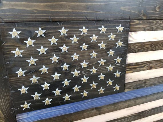 Deluxe Rustic Style Framed American Flag w/ Shell Casings