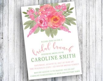 Braut Brunch Einladung   Geburtstag Brunch Einladung   Brautdusche    Aquarell Blumen