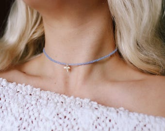 Frosted Periwinkle Shark Bite Choker Necklace