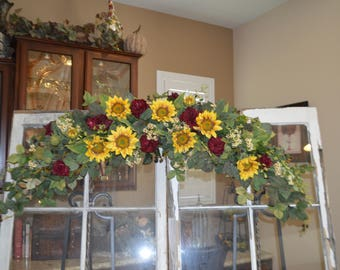 Wedding Arch, Rustic Sunflower Swag, Wedding Swag, Sunflower Wedding Swag, Archway Swag, Wedding Archway Swag, Rustic Arch swag,