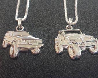 jeep charm pendant necklace wrangler, CJ, Cherokee, XJ, jk
