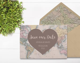 World Map Save the Date - Vintage Map Print - Destination Save the Date - Destination Wedding - Adventure Wedding Invitation - Save the Date