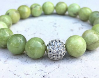 Natural Green Peridot Chunky Bracelet- Olive Green Bracelet- Green Gemstone Bracelet- 10mm Natural Peridot- August Birthstone- Gift for Her