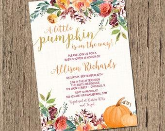 Pumpkin Baby Shower Invitation, Fall Baby Shower Invitation, Little pumpkin Baby Shower Invitation, watercolor flowers, Printable Invitation