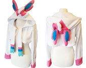 Pokemon Sylveon cute candy coloured pastel fairy eevolution cosplay costume hoodie (shrug style), Eevee evolution, Pokemon trainer, Anime