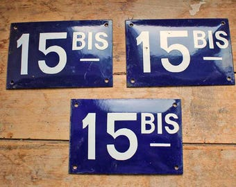 Rare antique French enamel house number SIGN with 'bis' . Door street address No 15 with bis enamel blue