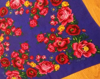 Vintage Purple Shawl Russian Shawl Folk Scarf Shawl Leaves Flowers Roses Russian Floral headscarf Babushka 80's Bohemian scarf Boho chic