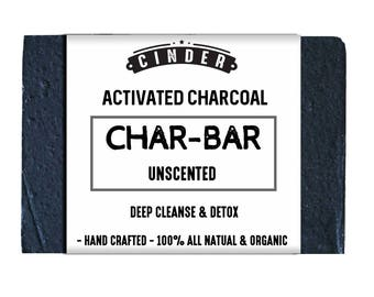 Activated Charcoal Soap, Unscented, Deep Cleanse, Acne, Detox Bar by Cinder Charcoal, Unscented Activated Charcoal Soap