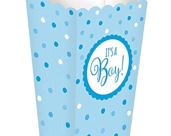 Set Of 20 It's A Boy Baby Shower Popcorn Boxes - Blue Polka Dot Print - Great For Popcorn & Candy Buffet Bar And Favor Boxes!