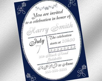 Blue and Silver Invitation, Instant Download, Printable Invitation, Elegant Invitation, Blue and Silver Party Decoration
