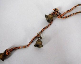 Vintage Brass Bells of Sarna India - 3 bells on rope - 1960s - christmas bells, doorbell, door hanging, bells set, holiday bells