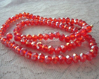 "Strawberry Red Rondelles 6x4mm AB Finish. 98pc Full 18"" Strand. Luscious Little Red Rondelles with Rainbow Golden Shimmers  ~USPS Ship Rates"