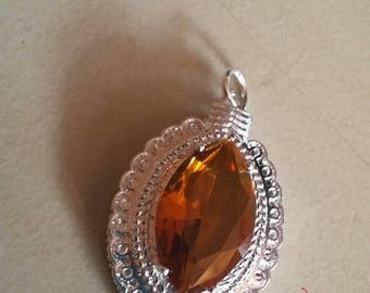 Holiday SALE 85 % OFF Citrine   Pendant Gemstones  . 925 Sterling Silver