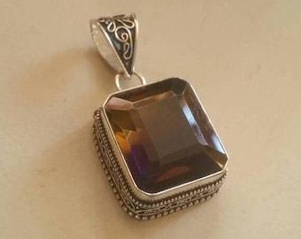 Holiday SALE 85 % OFF Amitrine  Pendant Gemstones  . 925 Sterling Silver