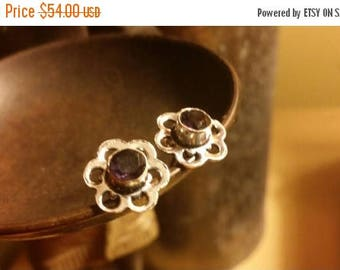 Holiday SALE 85 % OFF Amethyst   Stud Earrings Gemstone  .925 Sterling  Silver